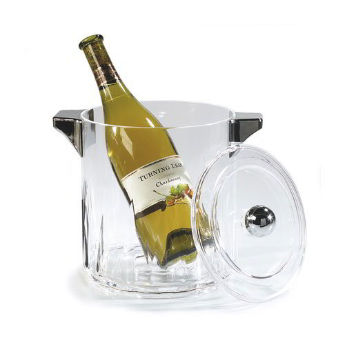 Carlisle IG24507 Diamond Cut Acrylic Ice Bucket w/ Chrome Plated Lid & Side Handles