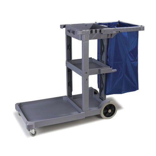 Carlisle JC1945L23 Janitor Cart w/ 3-Shelves, Gray/Blue