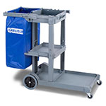 "Carlisle JC1945S23 Janitorial Cart with 17"" Platform - 3-Shelves, Polyethylene, Gray"