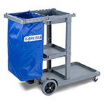 Carlisle JC1945S23 Janitor Cart w/ 3-Shelves, Gray/Blue