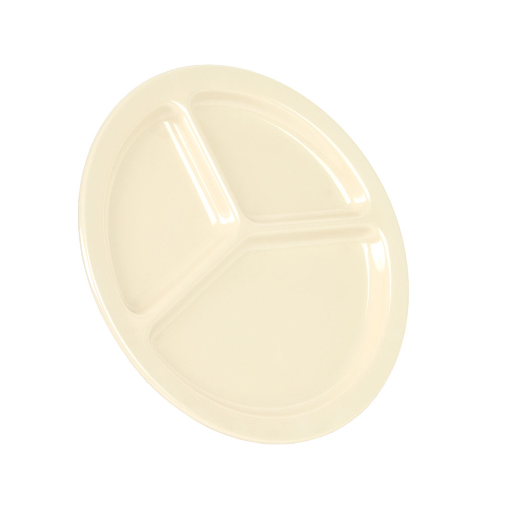 "Carlisle KL10225 10"" Round Plate w/ (3) Compartments, Melamine, Tan"