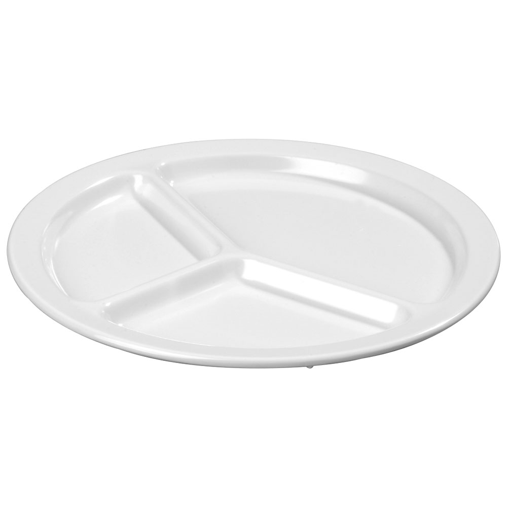 Carlisle KL10202 10-in Round Plate w/ 3-Compartments, Narrow Rim, Melamine, White