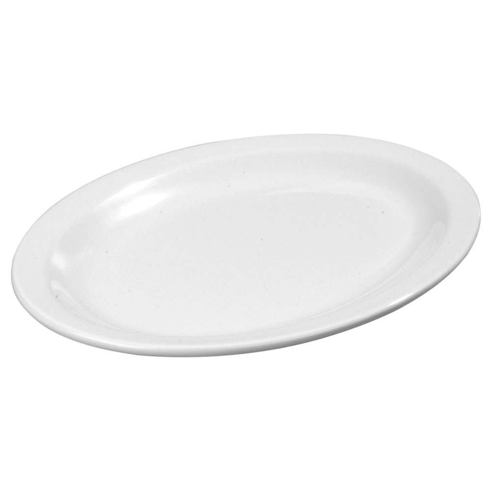"""Carlisle KL12702 Oval Platter - 12"""" x 9"""", Melamine, White"""