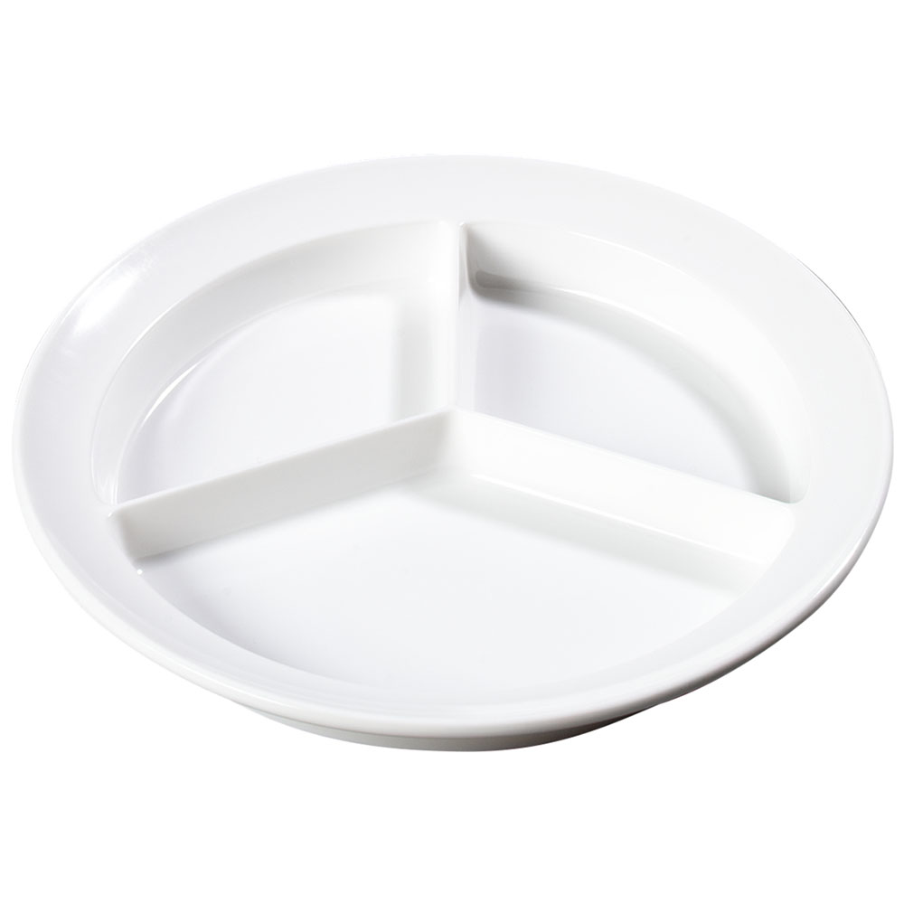 "Carlisle KL20302 8-3/4"" Kingline (3)Compartment Plate - Melamine, White"