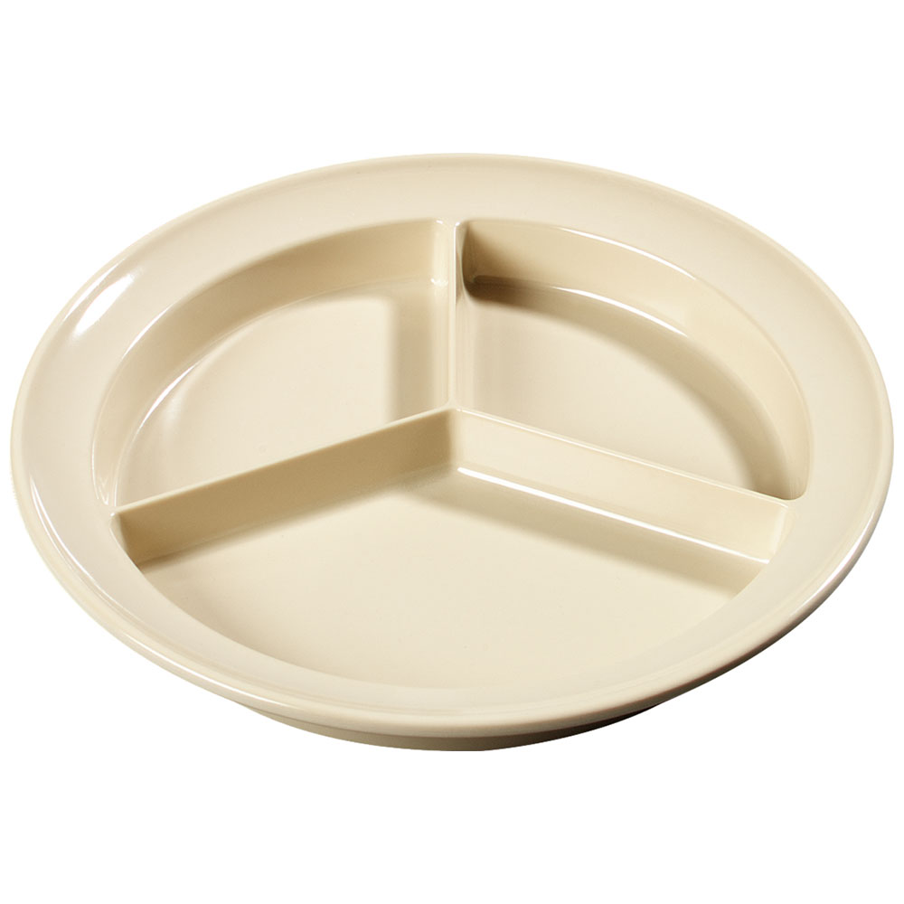 "Carlisle KL20325 8-3/4"" Kingline (3)Compartment Plate - Melamine, Tan"