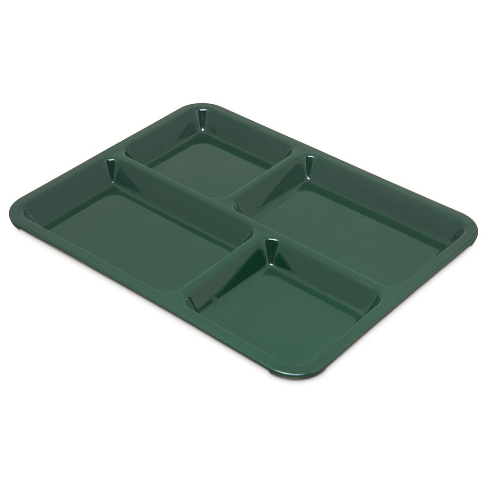 "Carlisle KL44408 (4)Compartment School Tray - 8-1/2x11"" Forest Green"