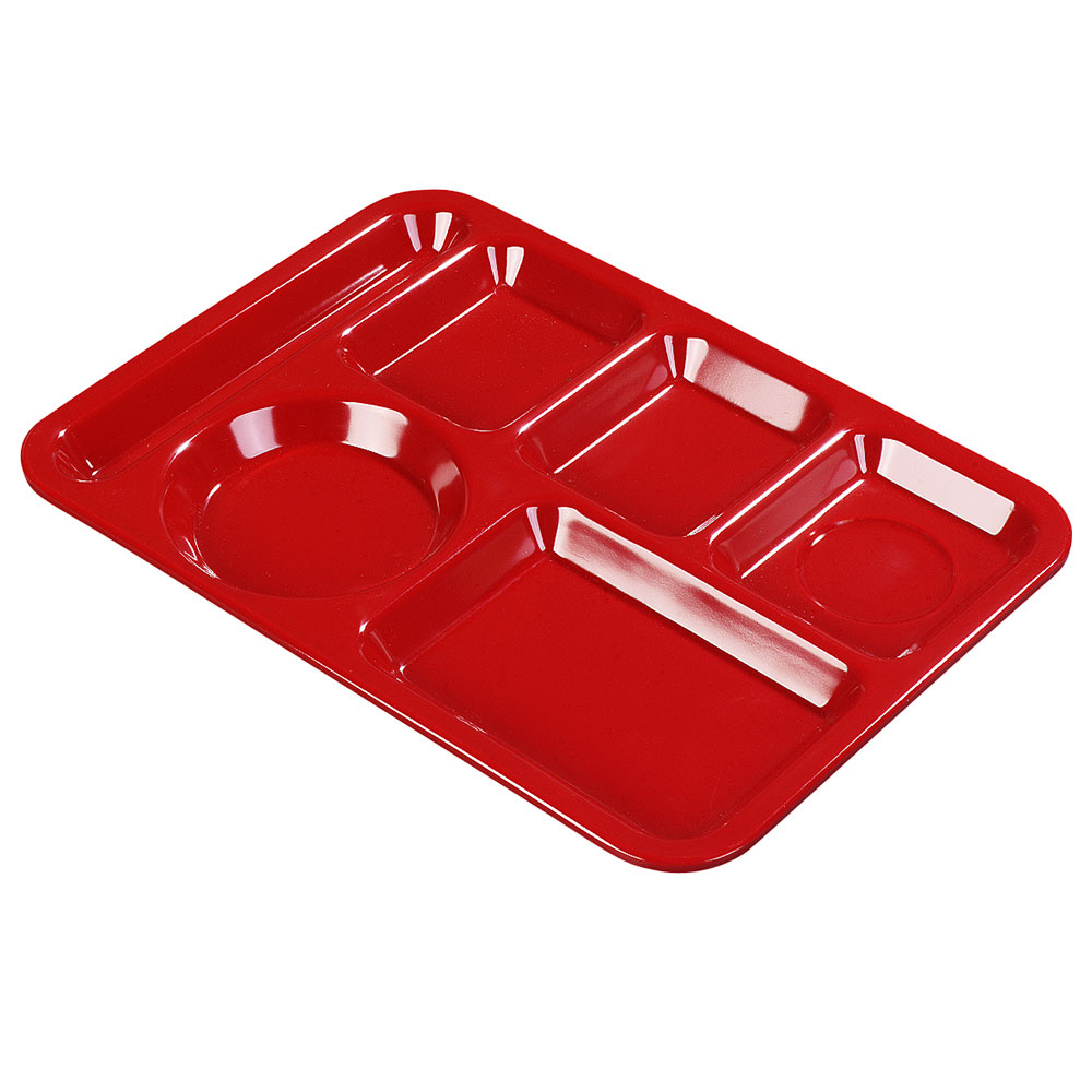 Carlisle P61405 Rectangular Tray w/ (6) Compartments, Polypropylene, Red