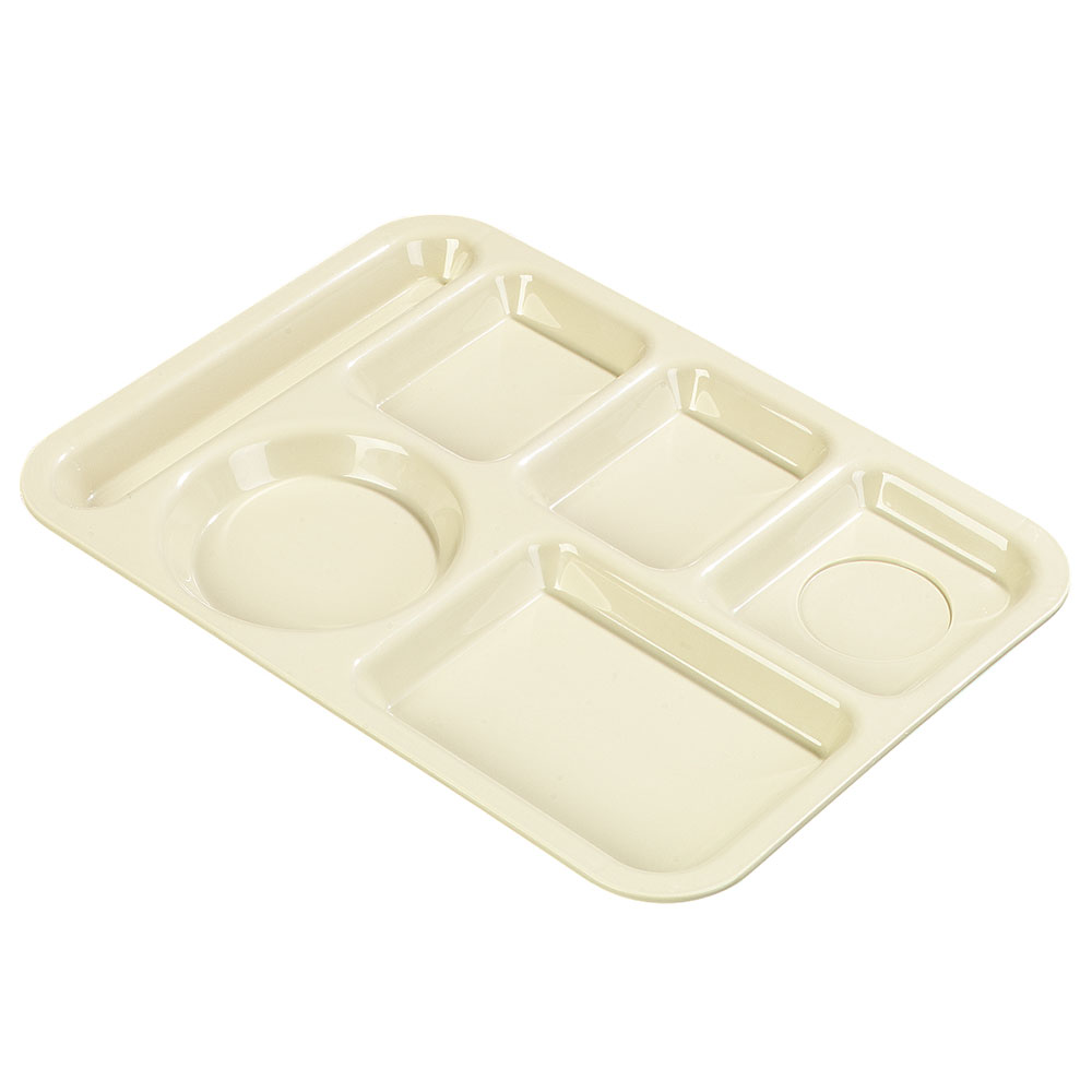 Carlisle P61425 Rectangular Tray w/ (6) Compartments, Polypropylene, Tan