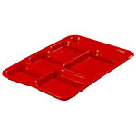 Carlisle P614R05 Rectangular Tray w/ (6) Compartments, Polypropylene, Red