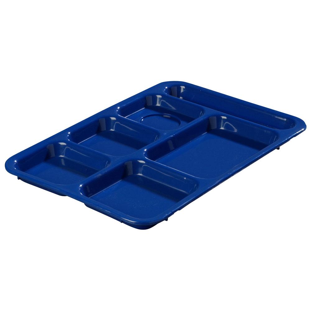 Carlisle P614R14 Rectangular Tray w/ (6) Compartments, Polypropylene, Blue