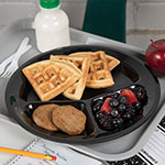 "Carlisle PCD21103 11"" Round Plate w/ (3) Compartments, Polycarbonate, Black"