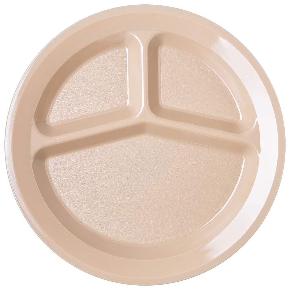 """Carlisle PCD21125 11"""" Round Plate w/ (3) Compartments, Polycarbonate, Tan"""