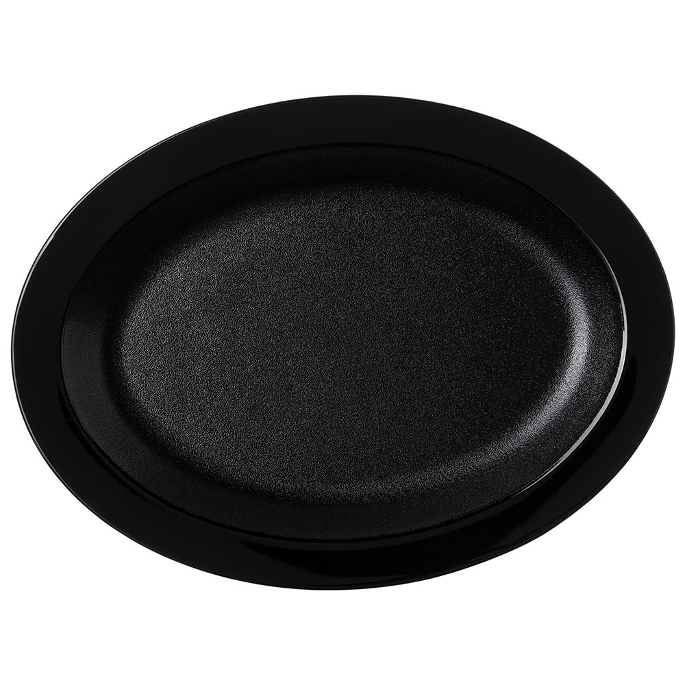 "Carlisle PCD41203 Oval Platter - 12"" x 9"", Polycarbonate, Black"