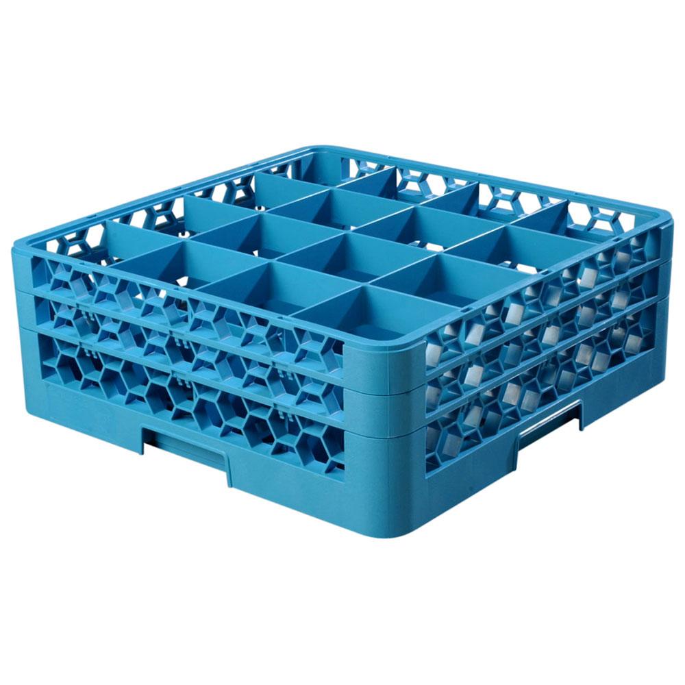 Carlisle RG16-214 Full-Size Dishwasher Glass Rack w/ (16) Compartments & (2) Extenders, Blue