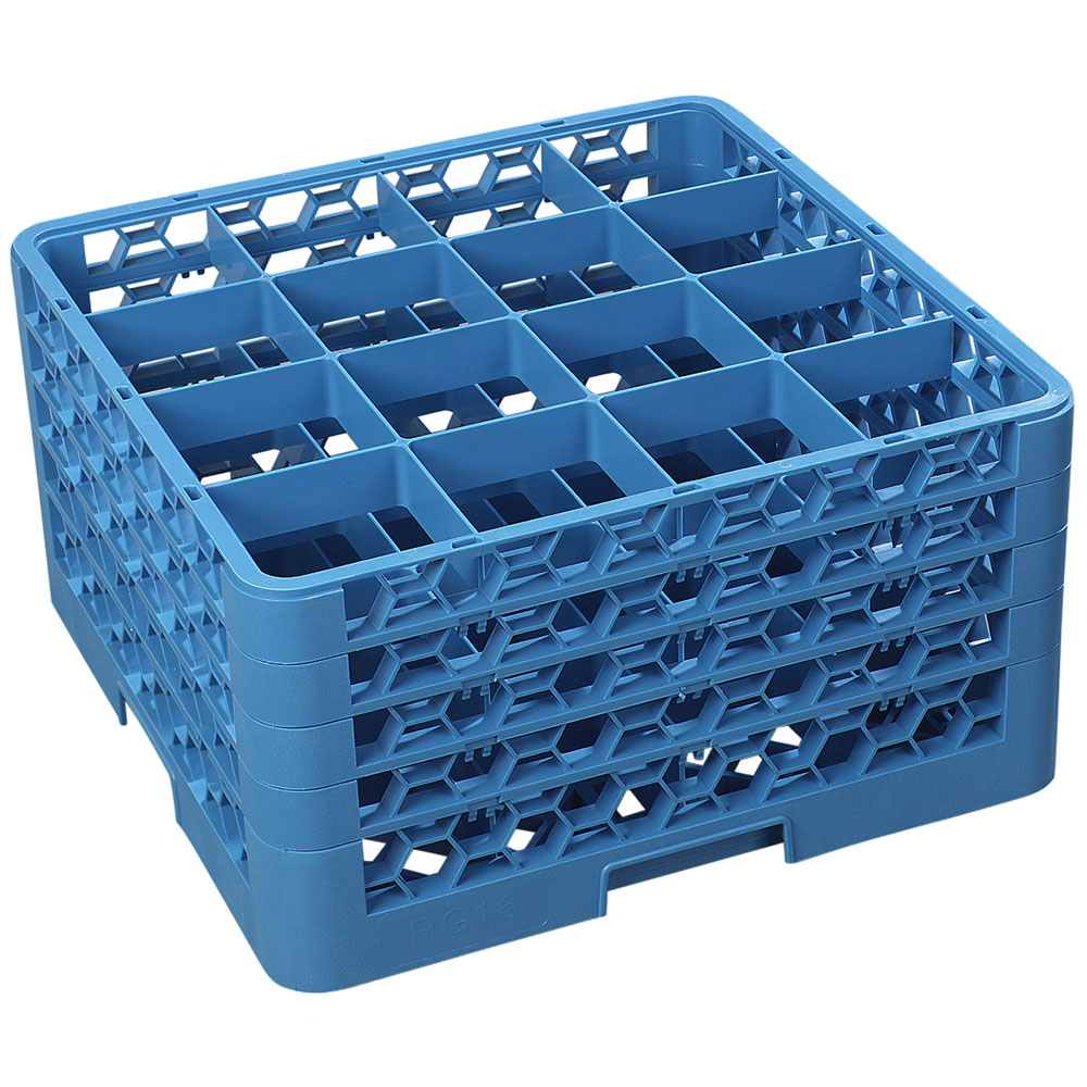 Carlisle RG16-414 Full-Size Dishwasher Glass Rack w/ (16) Compartments & (4) Extenders, Blue