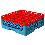 Carlisle RG25-2C410 Full-Size Dishwasher Glass Rack w/ (25) Compartments & (2) Extenders, Blue/Red