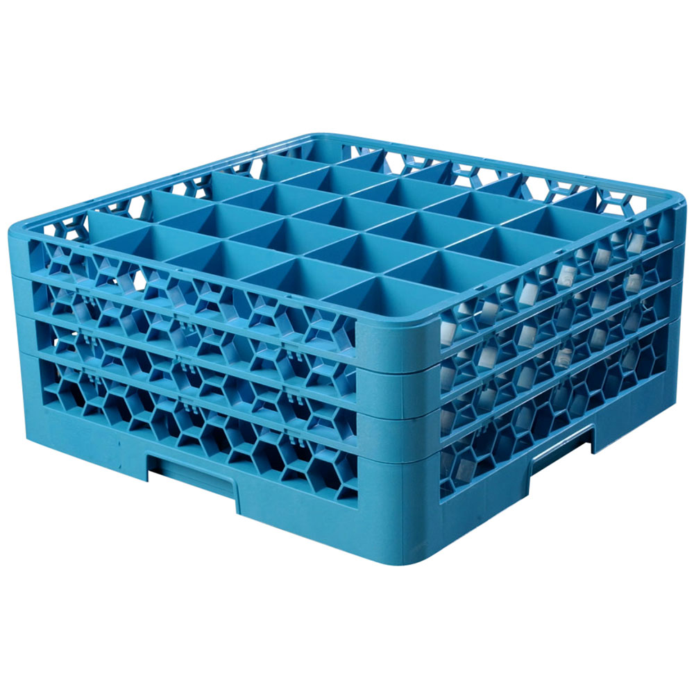 Carlisle RG25-314 Full-Size Dishwasher Glass Rack w/ (25) Compartments & (3) Extenders, Blue