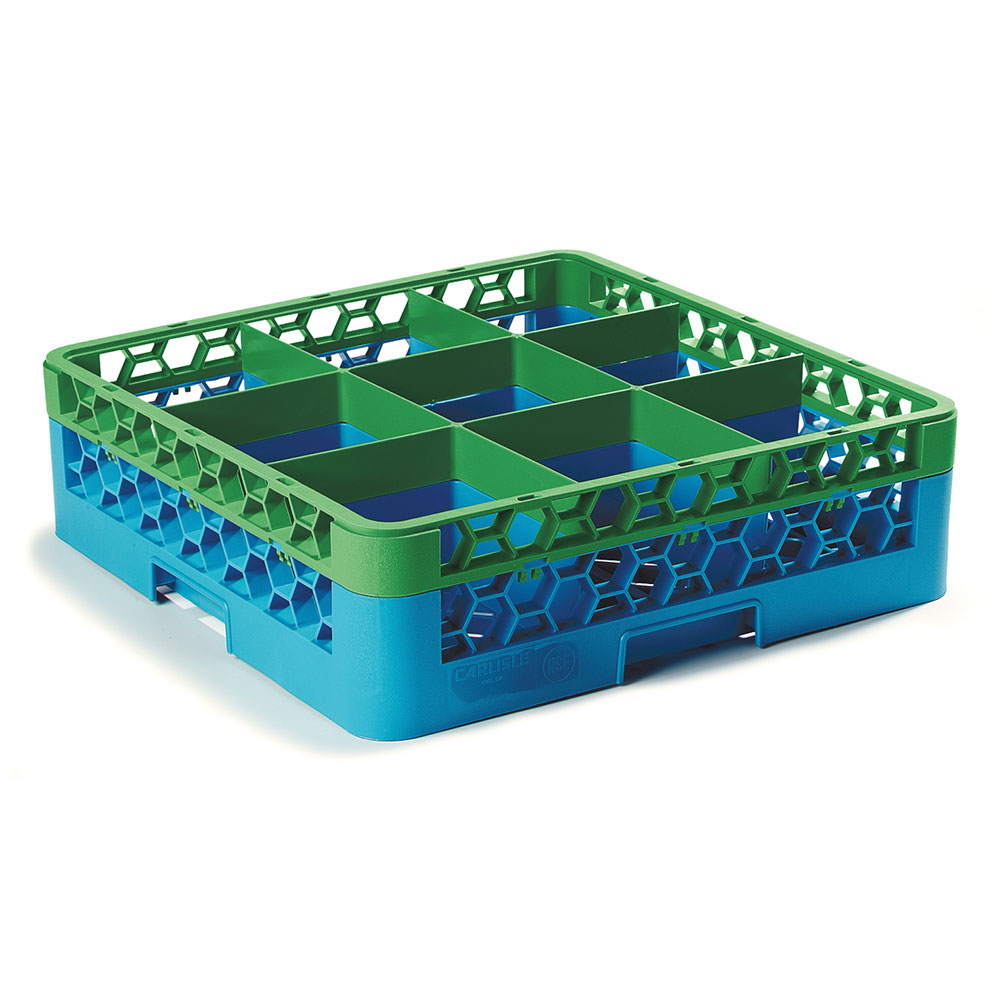 Carlisle RG9-1C413 Full-Size Dishwasher Glass Rack w/ (9) Compartments & Extender, Blue/Green
