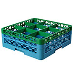 Carlisle RG9-2C413 Full-Size Dishwasher Glass Rack w/ (9) Compartments & (2) Extenders, Blue/Green