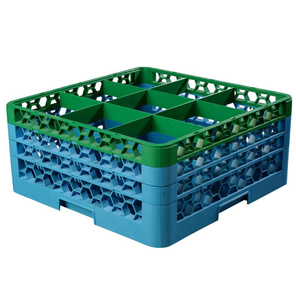 Carlisle RG9-3C413 Full-Size Dishwasher Glass Rack w/ (9) Compartments & (3) Extenders, Blue/Green