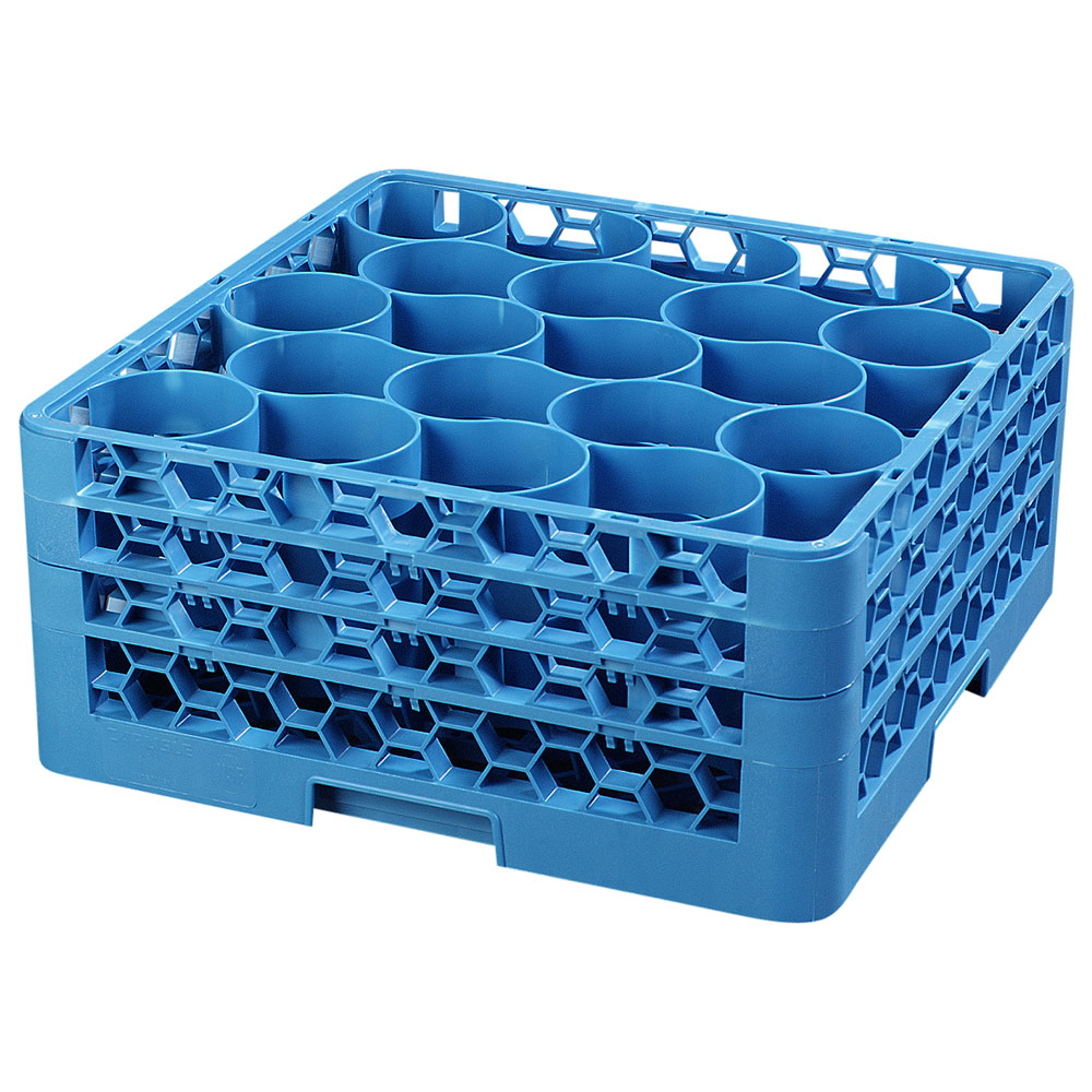Carlisle RW20-214 Full-Size Dishwasher Glass Rack w/ (20) Compartments & (3) Extenders, Blue