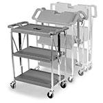 Carlisle SBC152123 3-Level Polymer Utility Cart w/ 350-lb Capacity, Flat Ledges