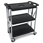 Carlisle SBC152103 Fold 'N Go Cart, Three Shelves, Small, Black