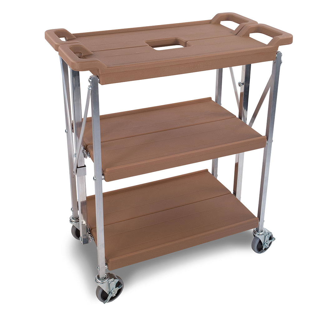 Carlisle SBC152125 3-Level Polymer Utility Cart w/ 350-lb Capacity, Flat Ledges
