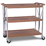 Carlisle SBC203125 3-Level Polymer Utility Cart w/ 350-lb Capacity, Flat Ledges