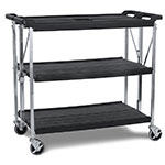Carlisle SBC203103 3-Level Polymer Utility Cart w/ 350-lb Capacity, Flat Ledges