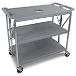 Carlisle SBC203123 Fold N Go Cart, Three Shelves, Large, Gray