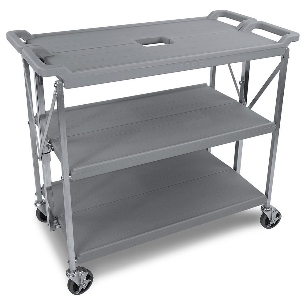 Carlisle SBC203123 3-Level Polymer Utility Cart w/ 350-lb Capacity, Flat Ledges