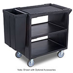 "Carlisle SBC23003 33.625""L Polymer Bus Cart w/ (3) Levels, Shelves, Black"