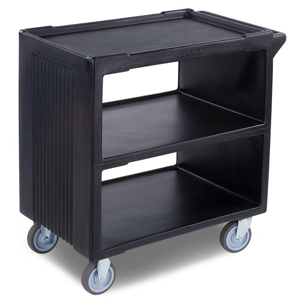 "Carlisle SBC23003 33.625""L Polymer Bus Cart w/ (3) Levels, Shelves, Black"