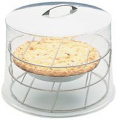 Carlisle SC59 Pie Cover W/ Rack, 12 in x 9 in, Clear Acrylic, Polished Chrome Handle