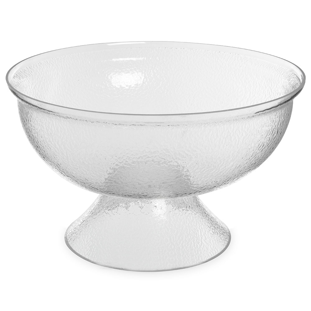 Carlisle SP1807 15-Quart Pebbled Clear Acrylic Pedestal Punch Bowl