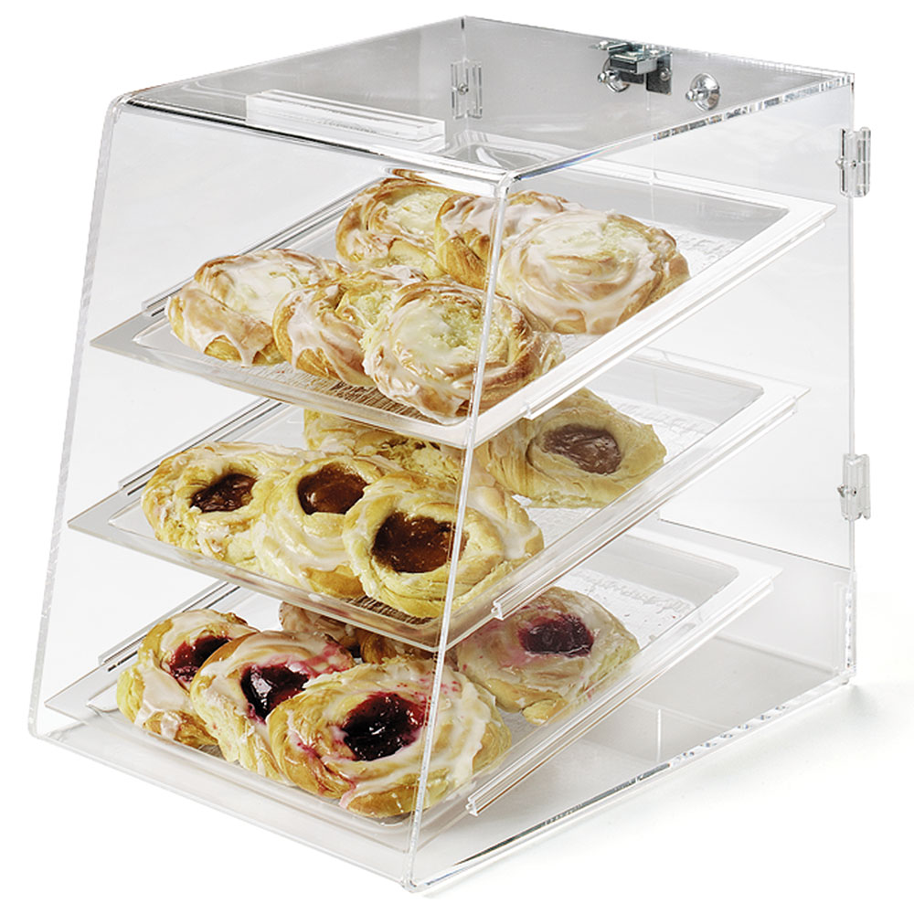 Carlisle SPD300KD07 3-Tier Pastry Display Case - Slant-Front, Unassembled, Acrylic, Clear
