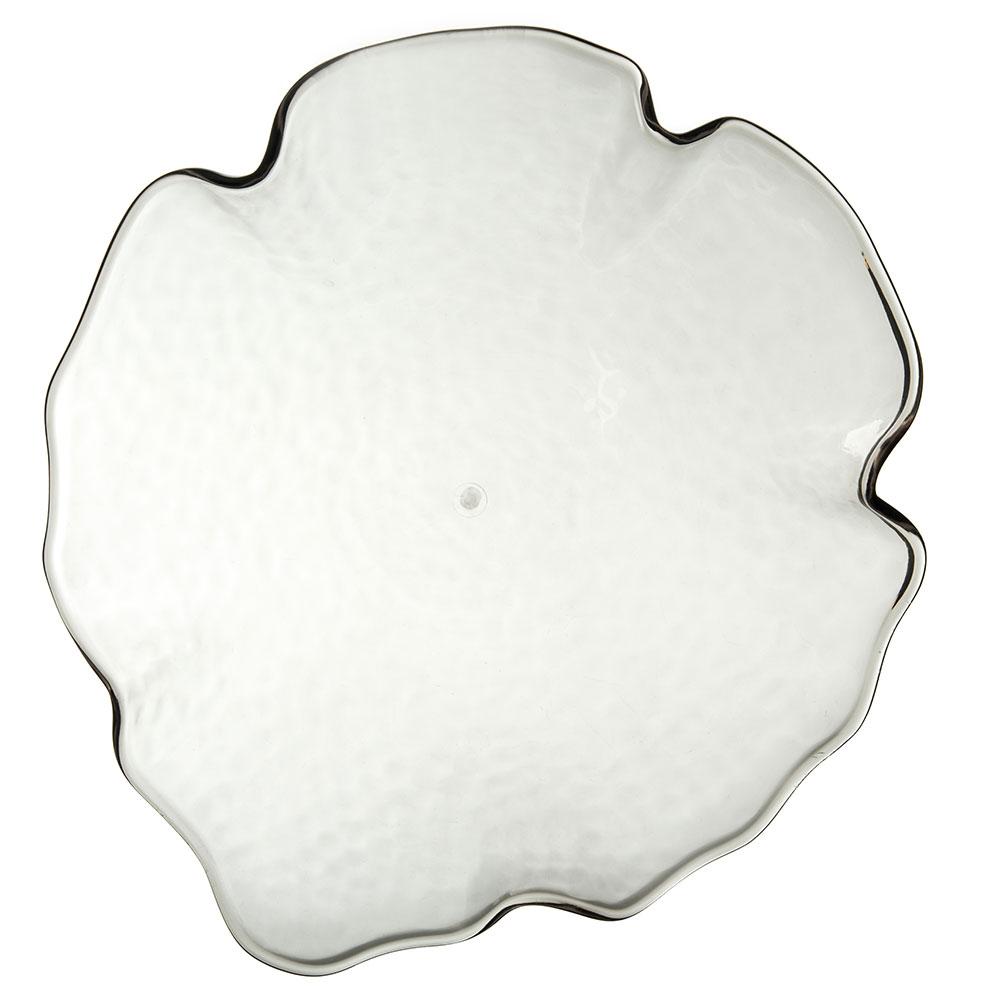 """Carlisle TRA1218 13"""" Round Serving Platter - Plastic, Smoke"""