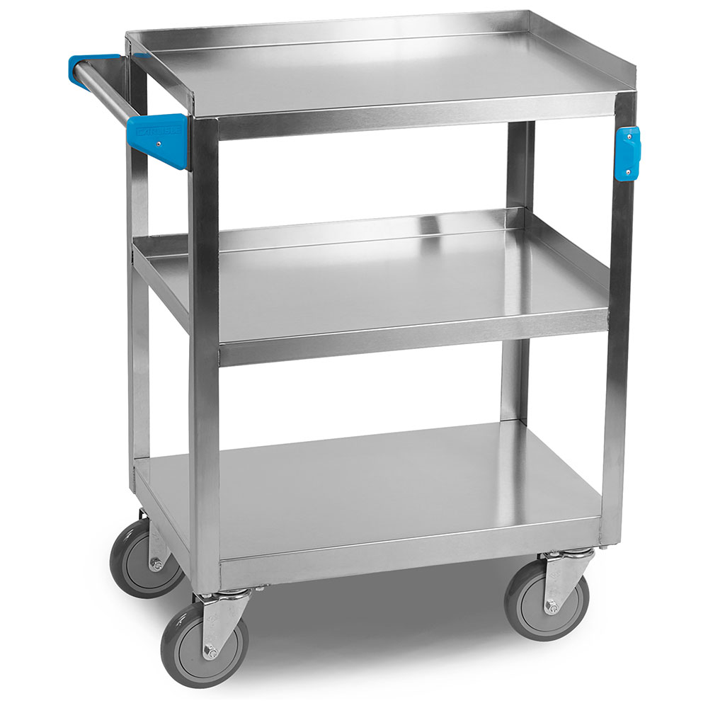 Carlisle UC3031524 3-Level Stainless Utility Cart w/ 300-lb Capacity, Raised Ledges