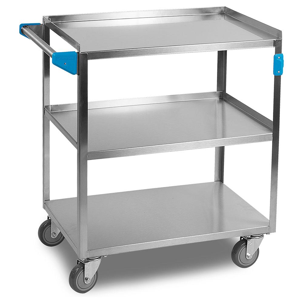 Carlisle UC3031827 3-Level Stainless Utility Cart w/ 300-lb Capacity, Raised Ledges