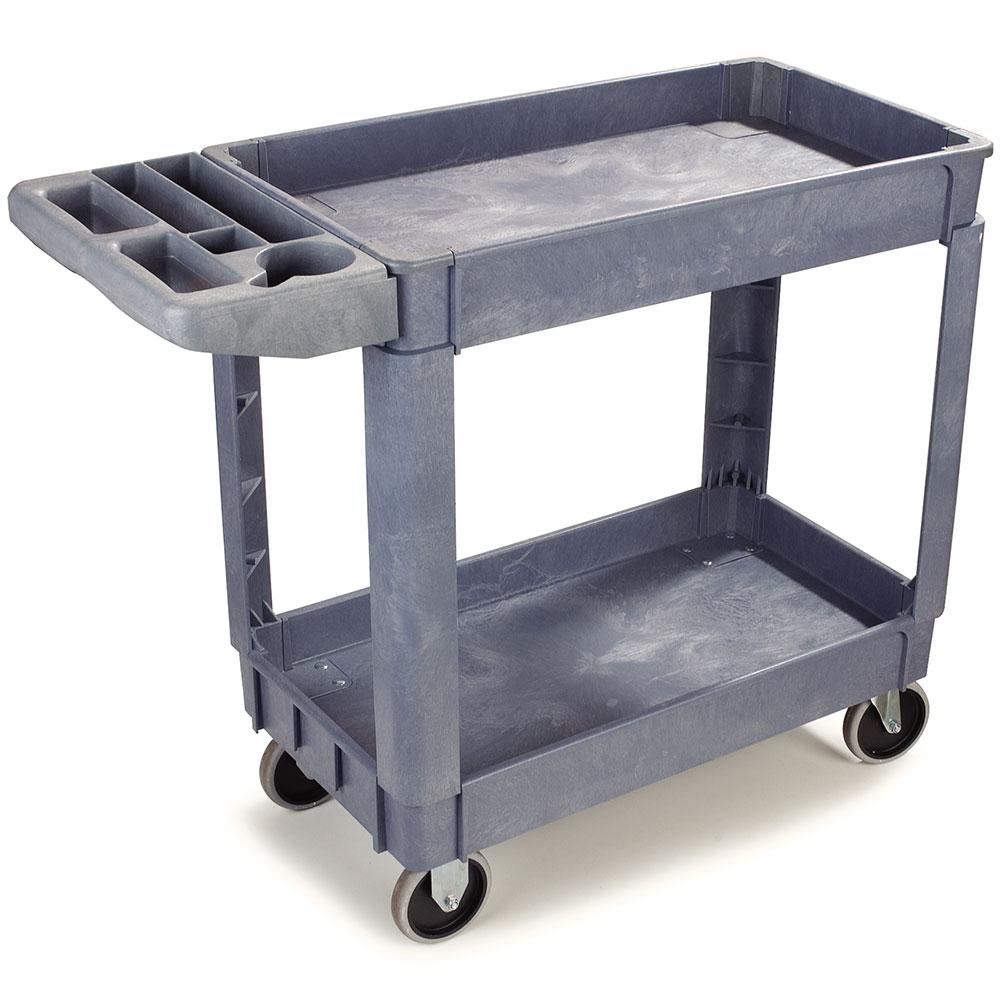 Carlisle UC4018-23 2-Level Polymer Utility Cart w/ 500-lb Capacity, Raised Ledges