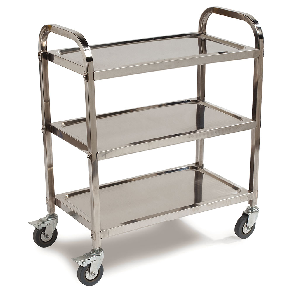 Carlisle UC4031529 3-Level Stainless Utility Cart w/ 400-lb Capacity, Raised Ledges