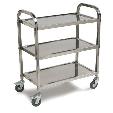 Carlisle UC4031733 3-Level Stainless Utility Cart w/ 400-lb Capacity, Raised Ledges