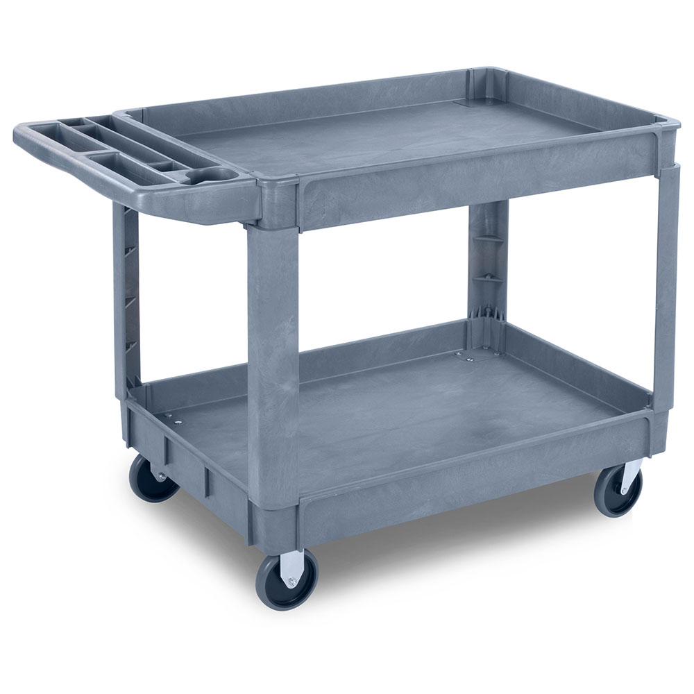 Carlisle UC4525-23 2-Level Polymer Utility Cart w/ 500-lb Capacity, Raised Ledges