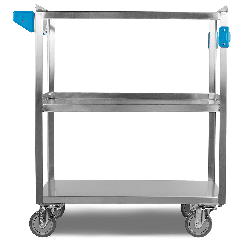 Carlisle UC5031827 3-Level Stainless Utility Cart w/ 500-lb Capacity, Flat Ledges