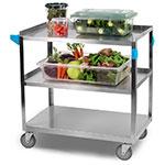 Carlisle UC5032135 3-Level Stainless Utility Cart w/ 500-lb Capacity, Flat Ledges