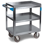 Carlisle UC7031827 3-Level Stainless Utility Cart w/ 700-lb Capacity, Flat Ledges