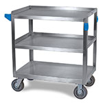 Carlisle UC7032133 3-Level Stainless Utility Cart w/ 700-lb Capacity, Flat Ledges