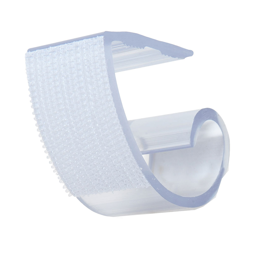 """Carlisle 5CCLCLIP-12 1"""" Skirting Clip w/ Velcro - Fits 1-1/2"""" to 2-1/2"""" Table Edges, Plastic"""