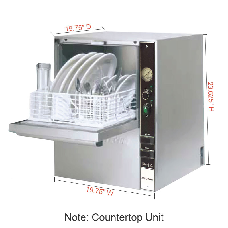 """Jet Tech F-14 Compact Countertop Glass Washer - Hi-Temp, Front Loading, 24x20x20"""", 115v"""